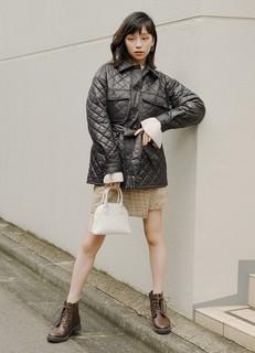 GU极优女装夹层菱形格外套特别企划2020冬季奶奶风大衣外套330006