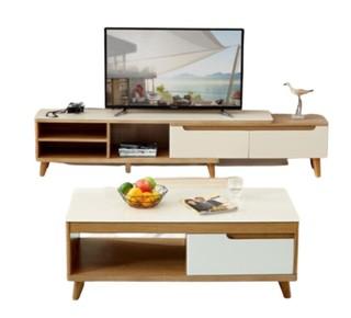 QuanU 全友 120722B 茶几B+电视柜B组合 橡木色