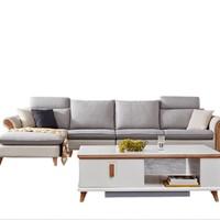 QuanU 全友 102381 L型布皮沙发 1+3+转 正向 浅灰色