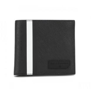 BALLY 巴利 男士黑色PVC黑白条纹对折短款钱包 BRASAI.OF30 6224359