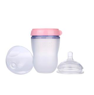 comotomo 可么多么 婴儿全硅胶防摔奶瓶两个装 250ml 粉色 3月+