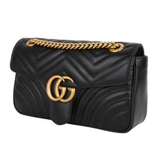 GUCCI 古驰 GG Marmont系列女士牛皮绗缝链条搭扣斜跨单肩包443497 DTDIT 1000 黑色 小号
