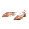 BeLLE 百丽 女士皮革尖头一字式扣带粗跟凉鞋V1W1DBH0