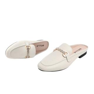 BeLLE 百丽 女士皮革方跟套脚英伦风凉鞋V4B1DBH0 米白 37