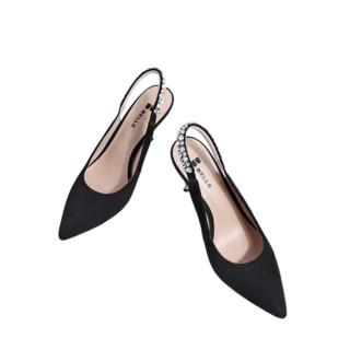 BeLLE 百丽 女士羊皮一字式扣带尖头闪钻细高跟凉鞋3ED35CH0 黑色 37