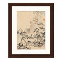 华嵒《夕阳远眺图》38×46cm 背景墙水墨画 装饰画 宣纸