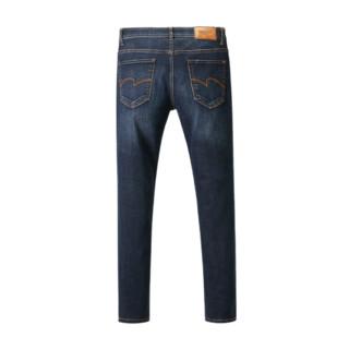 HLA 海澜之家 男士棉质微弹直筒拉链牛仔长裤HKNAD3Q161A 牛仔蓝过渡色 32