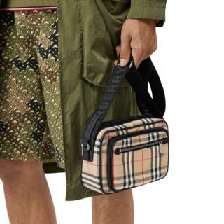 BURBERRY 博柏利 Vintage系列男士皮革拉链斜背包80101521 米色