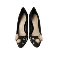 CHARLES & KEITH 女士立体花朵尖头浅口套脚细高跟鞋CK1-60920126 黑色 37