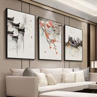 中國風客廳裝飾畫新中式沙發背景墻三聯掛畫簡約現代餐廳臥室玄關墻畫古風抽象壁畫 02鴻運當頭(三幅裝) 40*60 原木色框