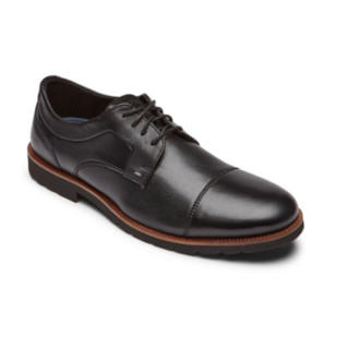 ROCKPORT 乐步 Sharp and Ready 2系列男士皮革系带圆头低帮商务德比正装鞋CH9088 黑色 42