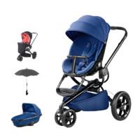 Quinny 酷尼 Moodd系列 婴儿推车+睡篮 蓝色黑架+蓝色