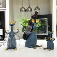 移动专享:柏以凡 北欧式创意红酒架摆件 杰克家三件套