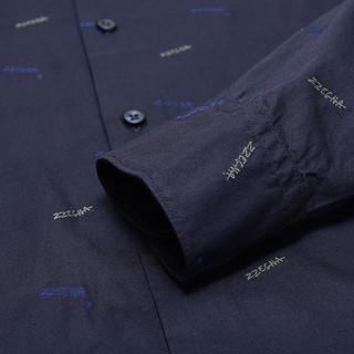 Ermenegildo Zegna 杰尼亚 男士翻领长袖衬衫 605161 9DTDAL 深蓝色 40