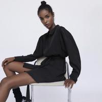 ZARA TRF 08597037800 女装 丝缎质感衬衣式连衣裙