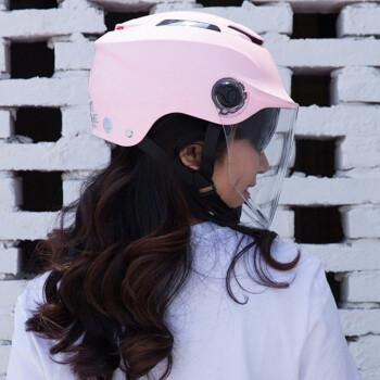 永恒电动摩托车头盔半盔夏季男电动车头盔女双镜片防晒轻便安全帽 浅粉红