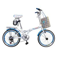 永久自行车 7速20寸彩配折叠车 快装型碳钢车架 男女式单车 YE2013 天空蓝