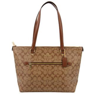 蔻驰 COACH 奢侈品 女士大号托特包手提单肩卡其棕色PVC F79609 IME74 *2件