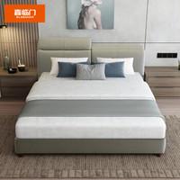 SLEEMON 喜临门 曼哈顿 头层牛皮软双人床 1.8米床 星空R床垫