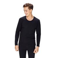 InteRight 男士纯色棉质加绒圆领长袖保暖内衣套装JD98121 黑色 XL