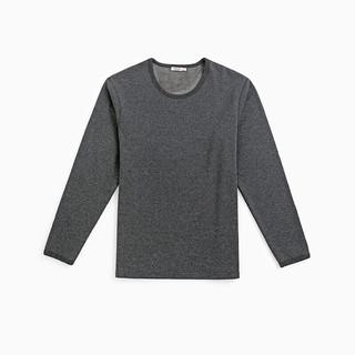 InteRight 男士纯色棉质加绒圆领长袖保暖内衣套装JD98121 深麻灰 XL