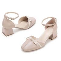 CAMEL 骆驼 女士皮革方头蝴蝶结粗跟扣带单鞋A01549607