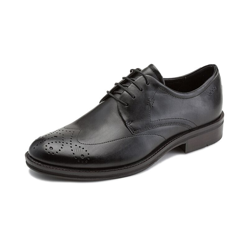 ecco 爱步 亨利系列男士圆头雕花系带低帮平底布洛克皮鞋63502401001 黑色 43