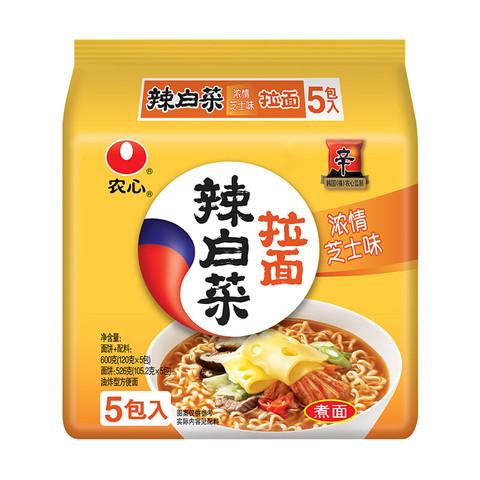 NONGSHIM 农心 NONG SHIM) 辣白菜浓情芝士拉面 方便面 袋面速食零食品 五连包 120g*5包