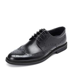 BeLLE 百丽  男士圆头低帮平底系带雕花布洛克皮鞋89183AM9 黑色 41