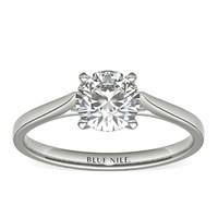 补贴购:Blue Nile 0.90克拉圆形切割钻石(切工EX,成色G,净度VS1)+ 14k 白金单石戒指