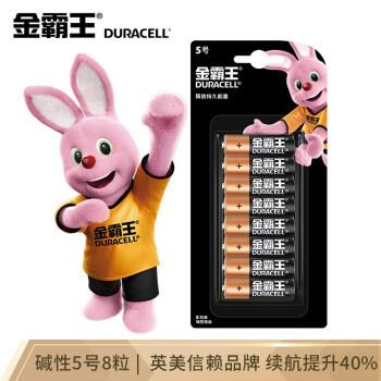 金霸王(Duracell)5号电池8粒装碱性干电池五号适用鼠标键盘相机指纹锁血压计电子秤遥控器儿童玩具挂钟 *2件