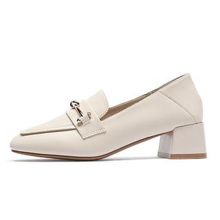 CAMEL 骆驼 女鞋 复古摩登金属扣饰纯色车缝线方头粗跟单鞋 A03549616 米色 37