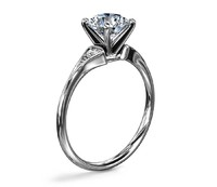 Blue Nile 56233 Heirloom Petite Milgrain14K白金钻石戒指 0.06克拉 3号