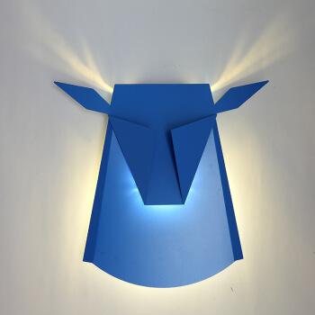 北歐牛頭壁燈臥室床頭現代簡約鹿角過道客廳背景墻LED裝飾壁燈 燈體藍色 暖光6瓦