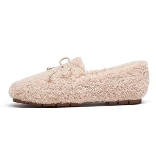 CAMEL 骆驼 女士圆头蝴蝶结套脚绒面平底低帮毛毛鞋A042266259 米白 36