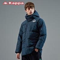 Kappa卡帕男羽绒服工装多口袋外套加厚高领连帽防寒服面包服新款(XXL、复古墨绿-365)