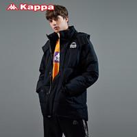 Kappa卡帕男羽绒服工装多口袋外套加厚高领连帽防寒服面包服新款(XXL、复古深咖-687)