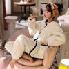 珊瑚绒睡衣女士秋冬可外穿加绒加厚三层夹棉家居服套装