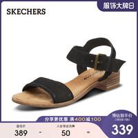 Skechers斯凱奇新款一字帶女士可外穿復古粗跟鞋露趾涼鞋40990(40、自然色/NAT)