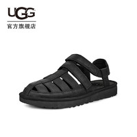 UGG2020夏季男士真皮凉鞋沙滩渔夫鞋时尚编织包头洞洞鞋 1102694(40、BLK   黑色)