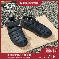 UGG2020夏季男士真皮凉鞋沙滩渔夫鞋时尚编织包头洞洞鞋 1102694(43、BLK   黑色)