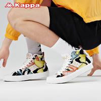 Kappa卡帕艺术家联名五行金帆布鞋新款情侣男女高帮刺绣板鞋(36、韩国白/金色-012)