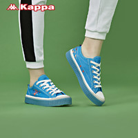 Kappa卡帕电音house联名情侣男女串标板鞋运动帆布小白鞋新款(35、日晒蓝/韩国白-847)
