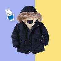 Miffy 米菲 儿童棉服毛领帽加绒加厚