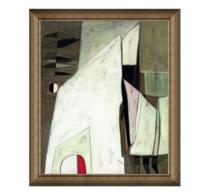 抽象建筑油画《白色的谐趣》背景墙装饰画 典雅栗(偏金色) 70×60cm