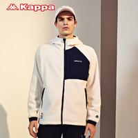 Kappa卡帕开身帽衫新款男运动卫衣摇粒绒拼接外套K0A52MK23(M、黑色-990)