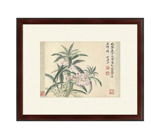 水墨画《海棠图》恽寿平 背景墙装饰画挂画 咖啡红 59×48cm
