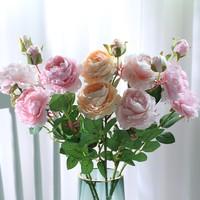鑫啸 仿真假花装饰花摆件 粉色2支奶粉2支香槟1支 (10个花5个蕾)