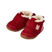 一段学步鞋MIKIHOUSE HOT BISCUITS男女宝宝加绒保暖刺绣秋冬棉鞋(内长12cm、红色)