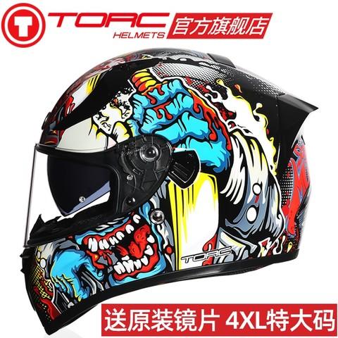 TORC头盔大码4XL男摩托车全盔覆式冬季双镜片防雾四季机车跑盔女